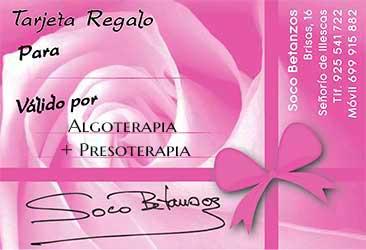 centro de estética en Illescas soco betanzos Tarjeta Regalo Algoterapia + Presoterapia